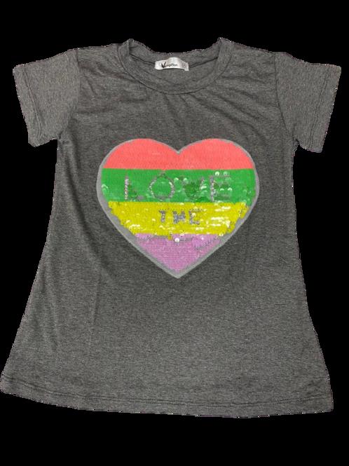 Camiseta coração love lantejoulas mescla