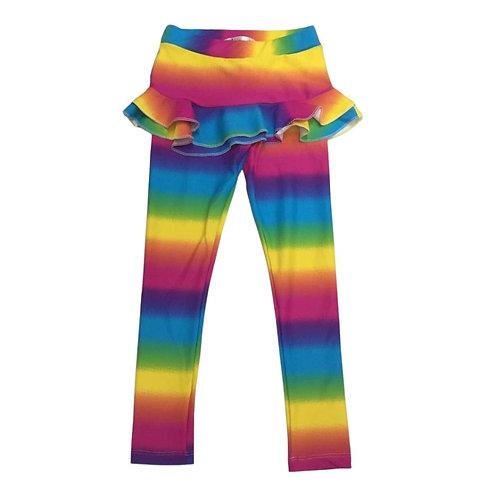 Legging com saia babado arco-íris