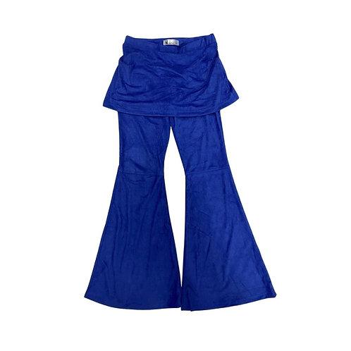 Calça flare com saia suede azul