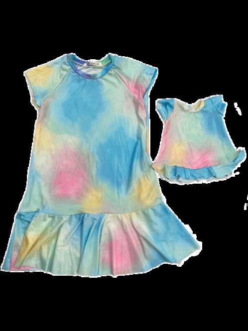 Vestido estampado tecido leve algodão colorido