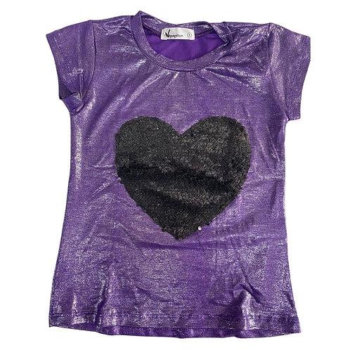 Camiseta brilho manga curta coração paetê