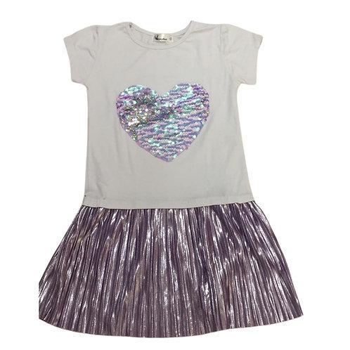 Vestido plissado coração branco com lilás