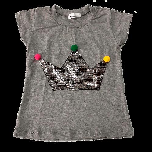 Camiseta coroa lantejoulas e pompons mescla