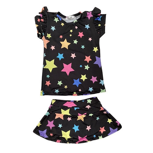 Conjunto Shorts Saia Estrelas Preto
