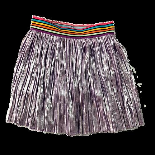 Saia plissada com elástico na cintura lilás