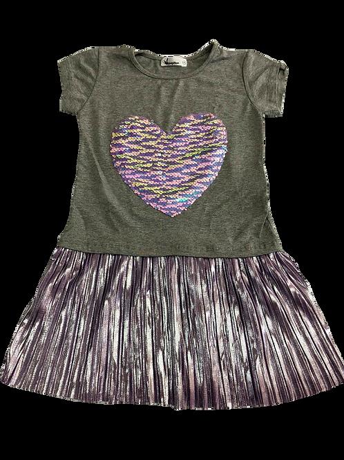 Vestido plissado coração mescla com lilás