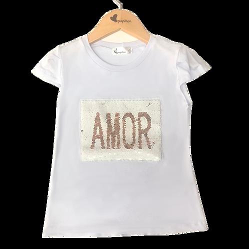 Camiseta paetê Amor