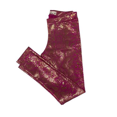 Legging rosa foil brilho