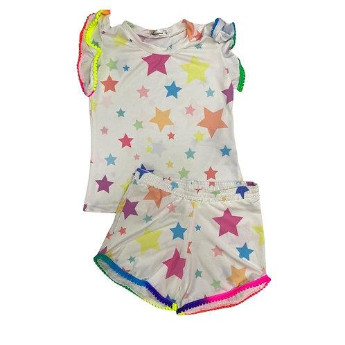 Conjunto Estrelas Shorts e Blusa Pompom