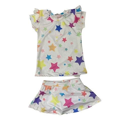 Conjunto Shorts Saia Estrelas Off White