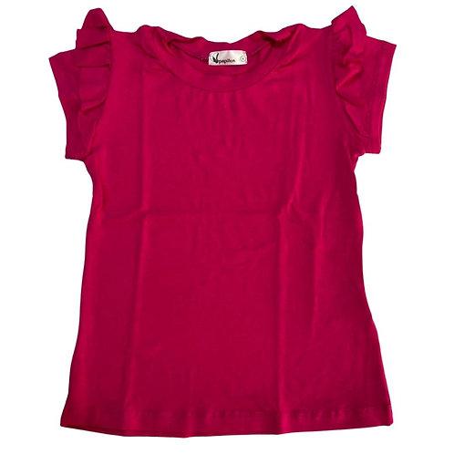 Camiseta lisa manga babado pink turquesa