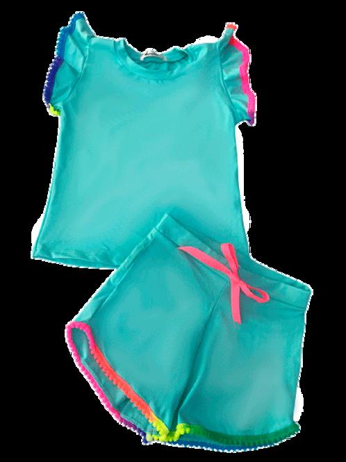 Conjunto Shorts e Blusa de Pompom Verde