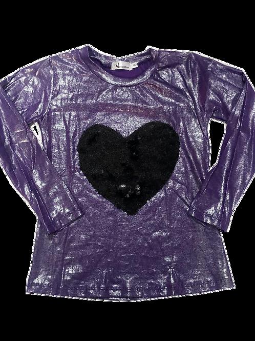 Camiseta m longa brilho coração paetê