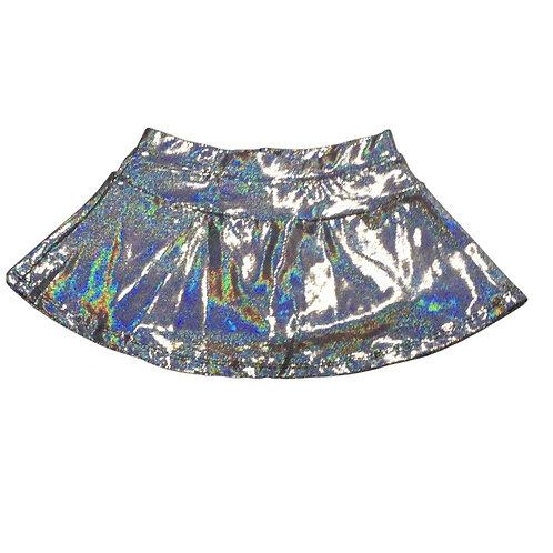 Saia shorts prata brilho