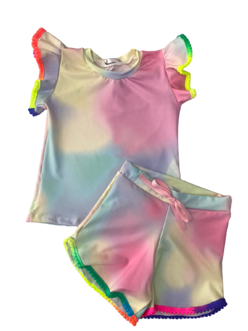 Conjunto Shorts e Blusa de Pompom Tie Dye