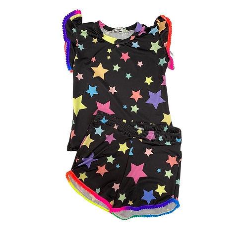 Conjunto Estrelas Shorts e Blusa Pompom Preto