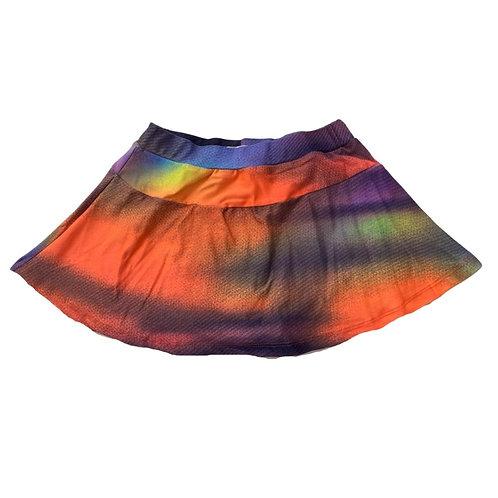 Shorts saia tie dye laranja