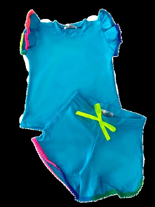 Conjunto Shorts e Blusa de Pompom Azul Claro