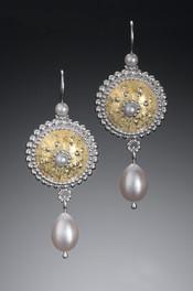 Byzantine Sunrise Earrings with Pearl Drops
