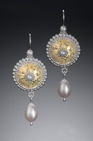 Byzantine Sunrise Earrings with Pearl Drops