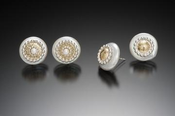 Byzantine Coin Pearl Stud Earrings