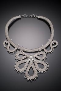 Lace Jabot Necklace  Handwoven