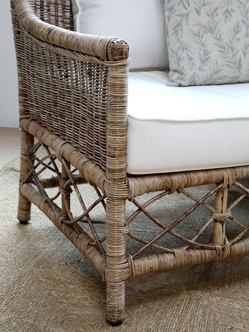 side view wicker chair with cushions