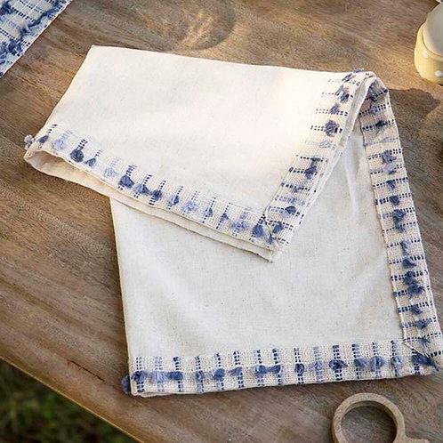 Napkin with blue tassels