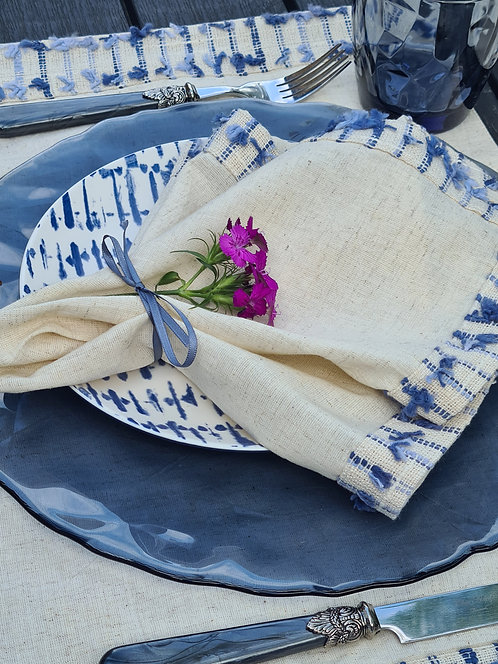 Blue Tassel Table 4 - Runner, Napkins & Placemats