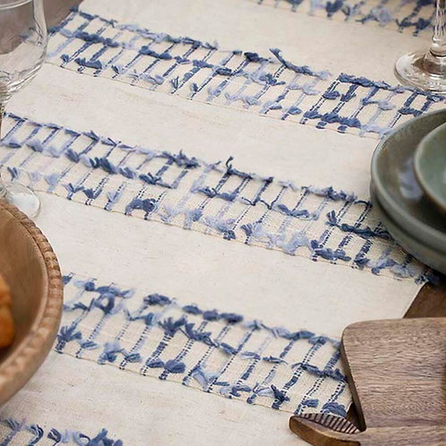 table runner with blue tassels