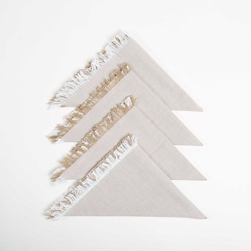 four beige and white woven fringe detail napkins