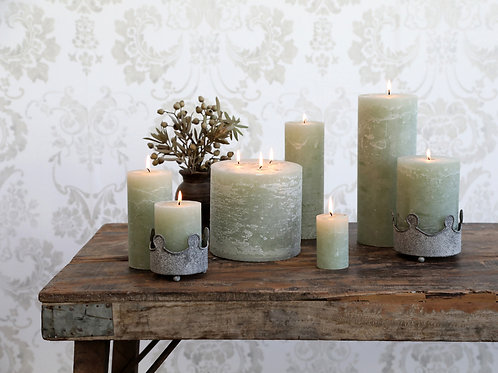 selection of rustic green candles
