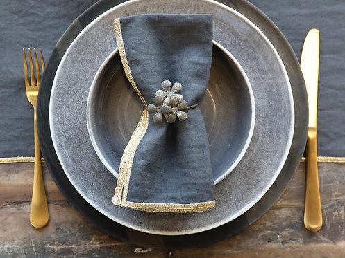 Flower Napkin Rings Antique Brass