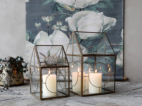 two antique brass glass lanterns