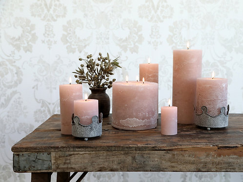 selection of dusty rose candles