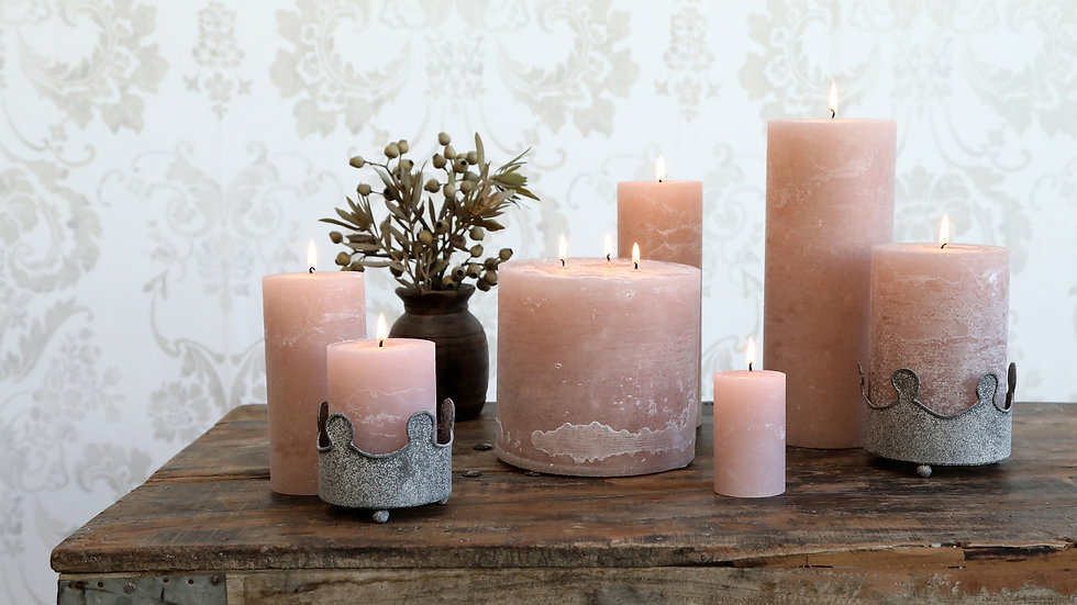 Macon rustic Pillar Candle Dusty Rose