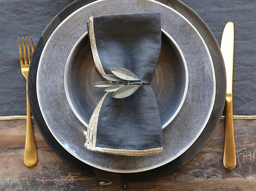 table setting with antique brass leaf napkin ring