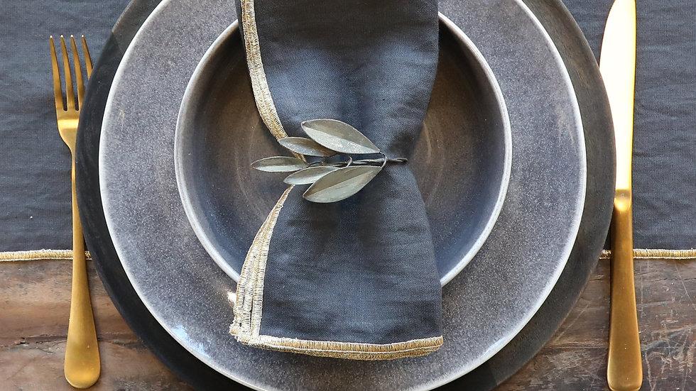 Leaf Napkin Rings Antique Brass