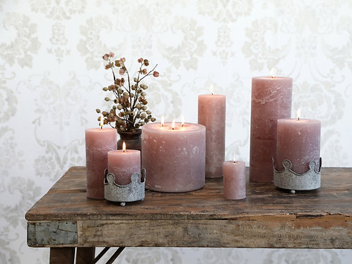 selection of taupe candles in different sizes