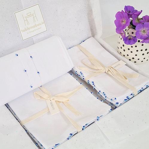 Napkin & Runner, Placemats Giftset Blue Beads