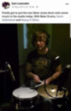 Sam Lumsde recording drums in the studio