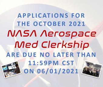 NASA Clerkship Deadline is June 01, 2021