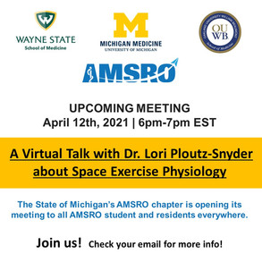Space Exercise Physiology Talk on April 12th
