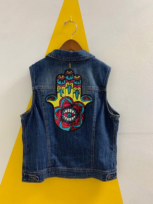"Upcycled ""Hamsa"" Vest Size 14/16"