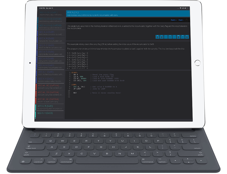 Z80 Reference running on an iPad Pro