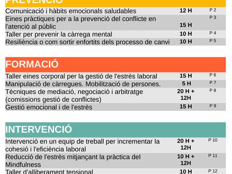 SERVEIS DE PREVENCIÓ, FORMACIÓ I INTERVENCIÓ EN RISCOS PSICOSOCIALS