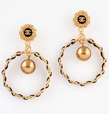 Chanel Vintage CC Hoop Earrings
