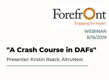 A Crash Course in DAFs: An Introduction to Donor-Advised Funds for the Nonprofit Professional