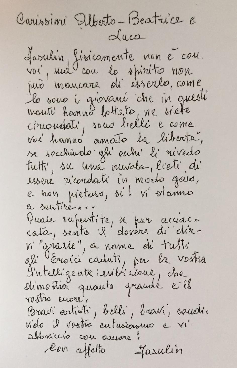 La lettera di Fasulin