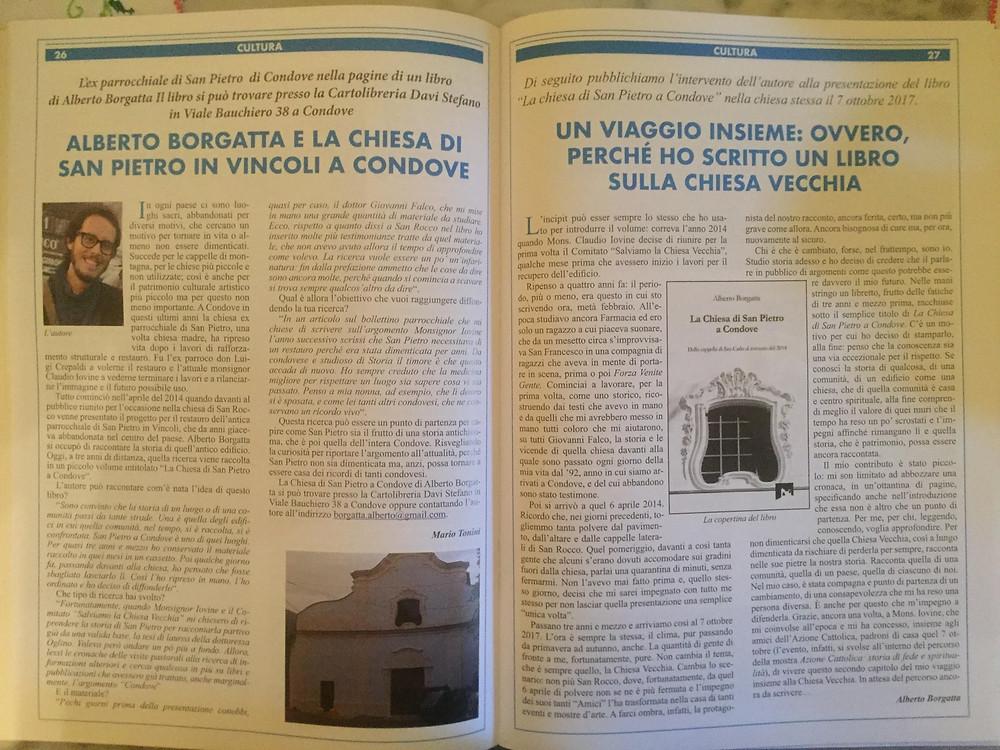 Le due pagine sul Bollettino Parrocchiale di Condove per l'anno 2017